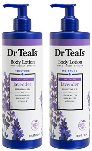 Dr. Teal's Body Lotion - Moisture Plus - Soothing Lavender Essential Oil, 36 Fl Oz (Two 18 Fl Oz Bottles)