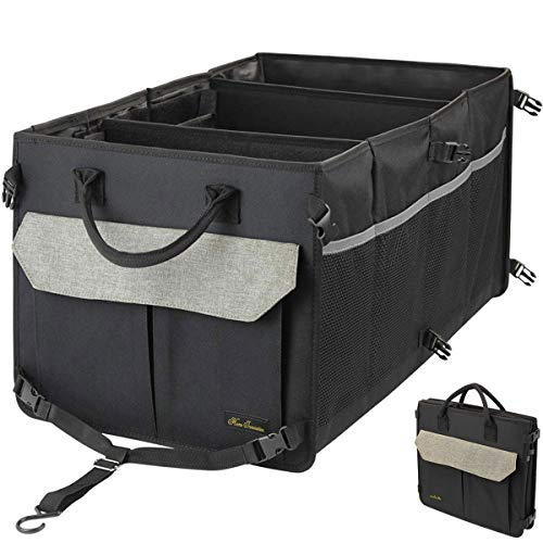 Home Innovation Car Trunk Organizer met 3 COMPARTMENTS en 9 Pockets, inklapbare auto vrachtwagen Opslag met antislip Stripes, duurzaam en wasbaar voor Suv, Trunk, Cargo - Khaki