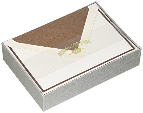 Originele Kroonmolen Zilveren Lijn 10,5 x 15,5 cm Kaarten Bi-Colour Schrijfdoos Set met C6 Gevoerde Enveloppen - Chocolade/Grijs (Pak van 25)