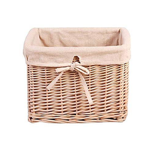 no-logo WAJklj European Style Natural Willow Woven Desktop Fabric Square Clothing Rattan Storage Basket Storage Box