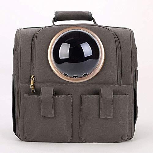 Stella Fella Gray space capsule pet backpack canvas transparent breathable capsule cat dog backpack outdoor travel portable handbag