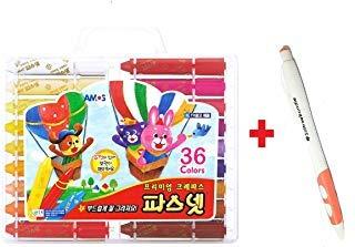 Amos Premium Non-toxic Silky Crayon Pasnet 36 Colors + SoltreeBundle Ballpoint Pen(Black)