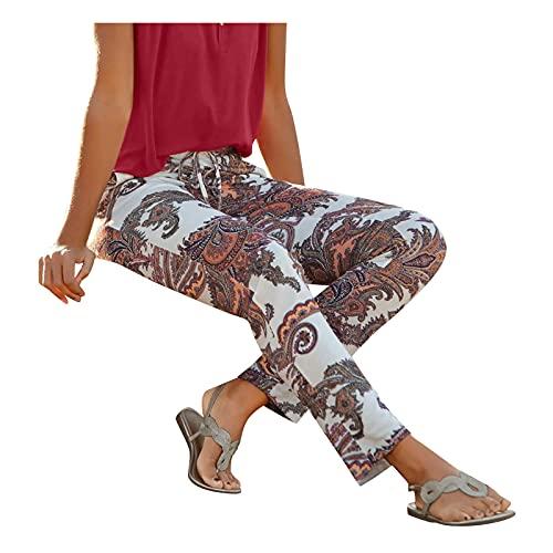 Pantalones Largos Con Estampado de Cintura Alta Para Mujer Multibolsillos En La Playa Boho Imprimieron Flor Pantalones Anchos Casual Skinny Slim Bohemios de Talla Grande deportivos de Yoga