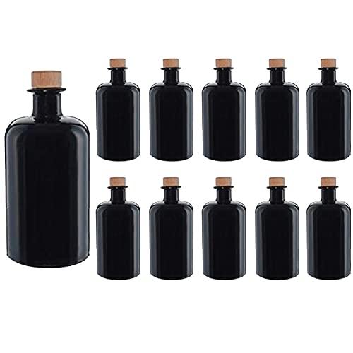 casavetro Bottigliette Vetro con Tappo Sughero - 500 ml - Bottiglia Vuota in Vetro per Vino, Liquore, Acqua, Succo di Frutta, Conserve, Latte, Olio, Birra, Vino, Estratti, Amari (10 x 500 ml)