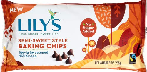 Lily`s Sweets Chocolate 45% Cocoa Semi-Sweet Baking Chips, Semi Sweet Chocolate, 9 Ounce (Pack of 1)