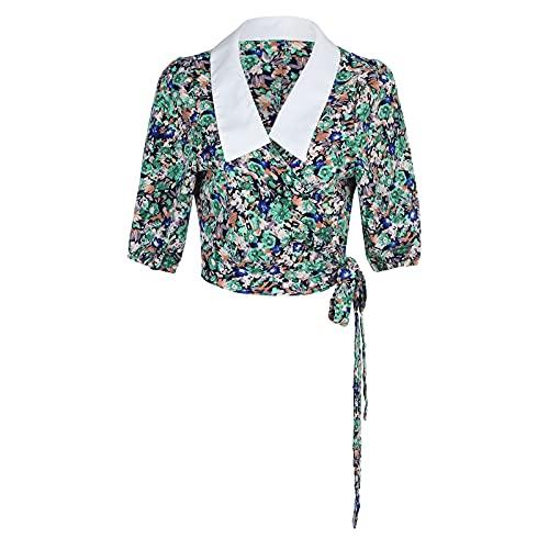 Blusa sin Mangas para Mujer sólido Camiseta con Solapa Cruzada Elegante Blusas Cuello en V