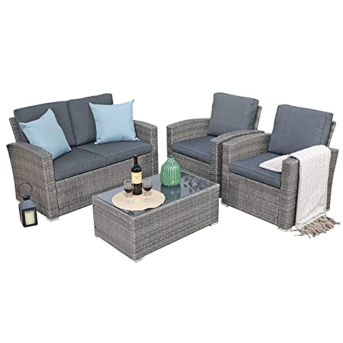 JOIVI Patio Furniture Set, 4 Piece Outdoor Patio Conversation Set, All-Weather PE Rattan Wicker Sectional Patio Sofa Set with Tempered Glass Coffee Table, Dark Gray