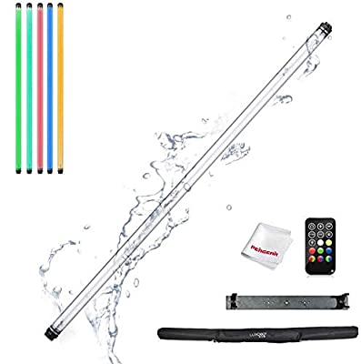 LUXCEO P120 Waterproof IP68 Full Color RGB LED Light Stick, CRI 95+ Accurate Color, 8 Emitting Colors, 4 Scene Lighting Effects, 3000K-5750K Controllable via APP (iOS & Android), with Remote Control