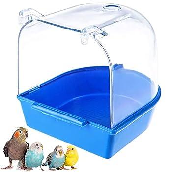 Accessoires Cage Baignoire à Oiseaux Baignoire Perroquet Baignoire Pour Oiseaux Baignoire Mangeoire à Oiseaux Perroquet Boîte Petit Oiseau De Bain Pour Petits Oiseaux Canaris Perruches Perroquet Bleu
