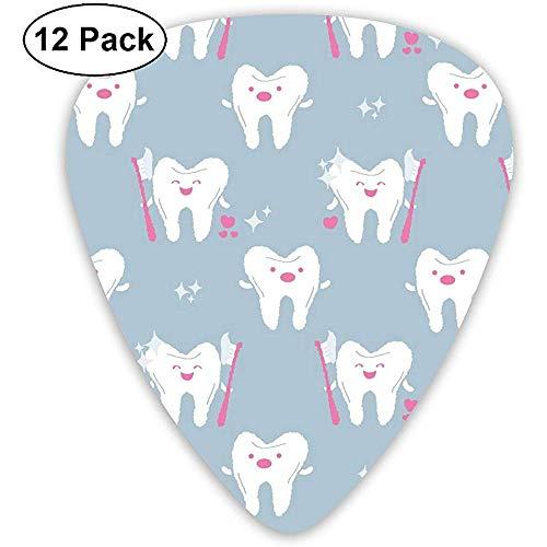 Plektren Zahn mit Zahnbürste Custom Abs Guitar Plectrums für Bass, elektrische und akustische Gitarren-12 Pack