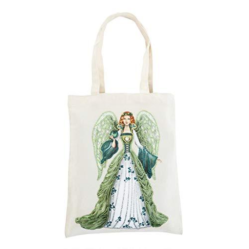 GOONSDS Tote Bag - Reusable Diamond Painting Cotton Fabric Foldable Shopping Bag with Handle,Durable Fashionable Bags for Shopping Daily Organization Rhinestone Diamond Art Handbag,N