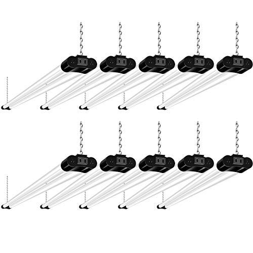 10 Pack 4FT Linkable LED Shop Light, Utility Shop Light Fixture, 4400lm, 42W [250W Equivalent], 5000K Daylight White Shop Lights for Garage, Hanging or Surface Mount, with Power Cord, ETL, Black