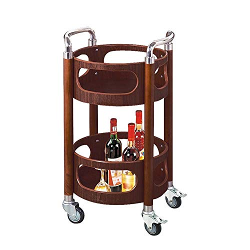 velocidad Kitchen Storage Trolley Serving Cart 2-Tier Drinks Utility Storage Rolling Cart Stainless Steel Frame Round Easy Moving Kitchen Bar Cart Lockable Caster Capacity 60 Kg