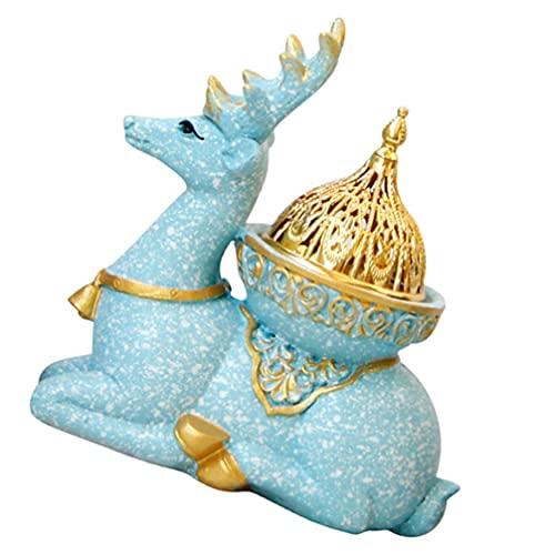 minkissy Sky Blue Deer Figurines Incense Burner Bakhoor Burner Mabkhara Frankincense Incense Burner for Yoga Spa Aromatherapy Reindeer Statue Home Decoration