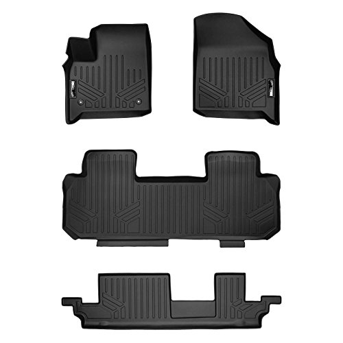 MAXLINER Floor Mats 3 Row Liner Set Black for 2018-2019 Chevrolet Traverse with 2nd Row Bench Seat