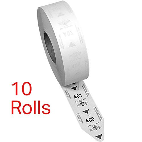 10 Rolls of 2-Digit Turn-O-Matic T80 White Take a Number Tickets for D80 Ticket Dispenser - 3000 / roll