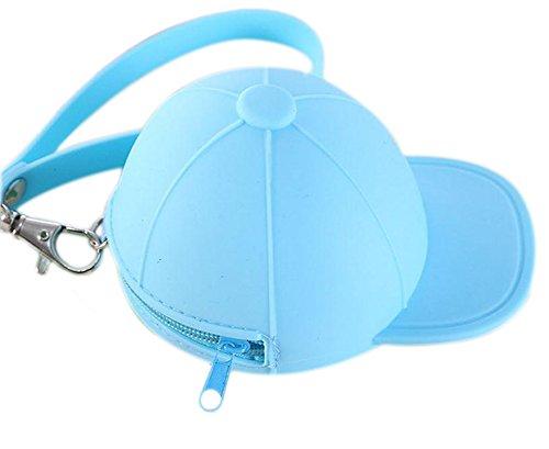 Demarkt Silikon Geldbörse Geldbörse Münzbeutel Geldbeutel Schlüssel Etui Mini Baseballmütze 11x8.2x7.5cm blau
