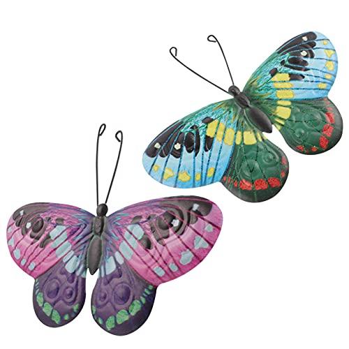 Generic 2Pcs Borboleta de Metal Arte Da Parede Decoração de Arte Decorativa De Ferro Inspirado Parede Pendurado Borboleta Escultura para O Jardim Quintal Gramado Rosa Azul 21. 5X17CM