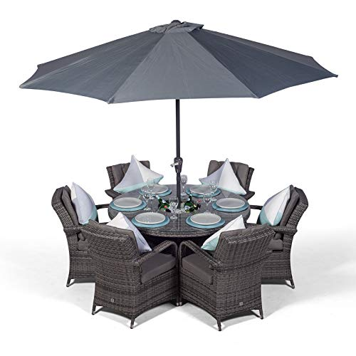 Arizona 6 Seater Grey Rattan Dining Set with Ice Bucket Drinks Cooler | Outdoor Poly Rattan Garden Table & Chairs Set with Parasol & Cover