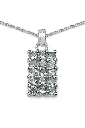 Silvancé - Damenschmuck Collier - 925 Silber, rhodiniert - echter Edelstein: Aquamarin - Länge: 45cm - P183AQ