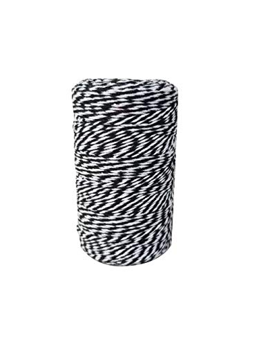 Black and White 656 Feet 200 m Cotton Baker Twine, Christmas Gift Wrapping Twine Cotton String, Crafts and Holiday Decorations