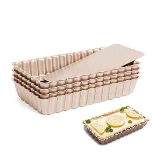 Mini Rectangular Fluted Tarte Pans 4 Inch 4Pcs Removable Bottom Nonstick Pies Tins Set by Lufeiya