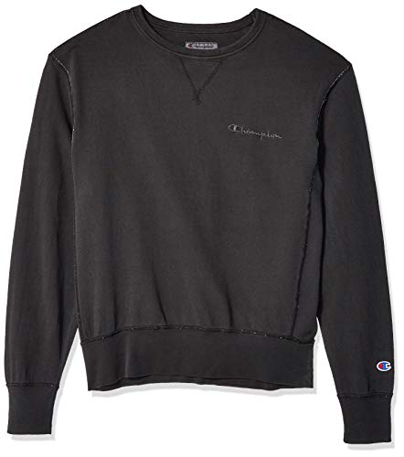 Champion Men's Vintage Dye Fleece Crew, Black, XX-Large