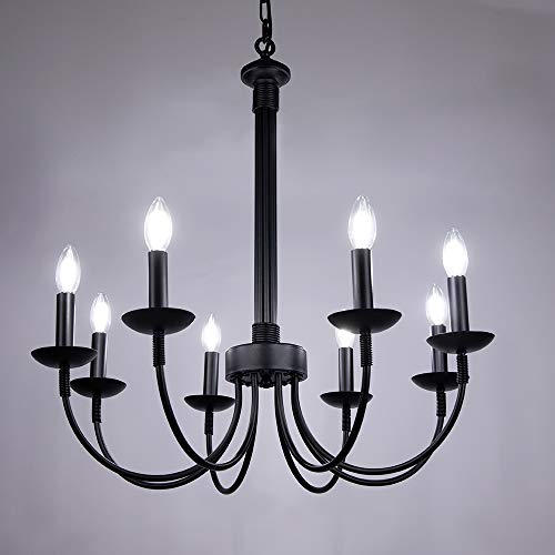 Wellmet 8-Light Farmhouse Chandelier, Black Chandeliers for Dining Room, Farmhouse Light Fixture for Foyer, Living Room, Kitchen Island, Bedroom