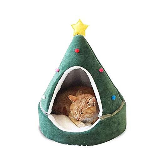 XHPWW Árbol de Navidad Suministros para Mascotas Cama para Nido Perrera, Gato Pequeño Perro Cama de casa acogedora y cálida para Invierno, Cama para Gato extraíble y Lavable Cama para Perro-S