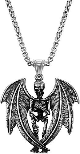 ZPPYMXGZ Co.,ltd Necklace Fashion New Stainless Steel Gothic Horn Evil Devil Demon Skull Pendant Necklace Eagle Hip Hop Necklace Punk Halloween Jewelry for Men 20th Century