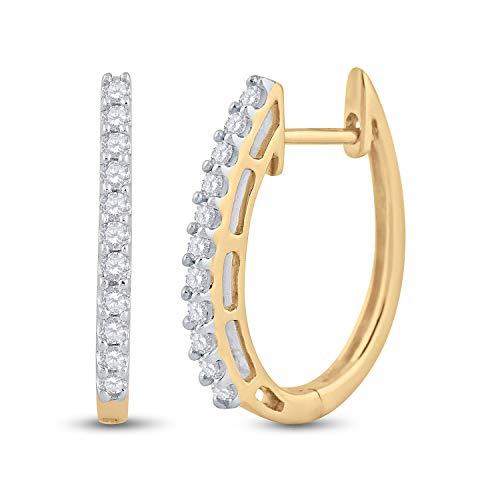 Orecchini a cerchio da donna in oro giallo 14kt rotondo pave-set Diamond singola riga 1/4Cttw