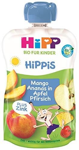 Hipp Bio für Kinder HiPPiS Frucht Plus Mango Ananas in Apfel Pfirsich plus Zink - Hans Hase, 100 g