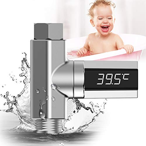 Mrinb LED Display Celsius Water Temperature Meter Monitor Flow Self-Generating Electricity Shower Thermometer Instant Read for Baby Kids Adults