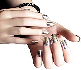 TBOP FAKE NAIL art reusable French long Artifical False nails 24 pcs set in Metal Silver color