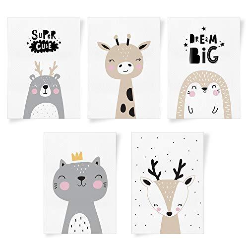 THE BIG things® 5-tlg. Poster-Set fürs Babyzimmer - minimalistischer skandinavischer Stil - A4-Fotos fürs Kinderzimmer - Deko für das Jungen- und Mädchenzimmer - schöne minimalistische Wanddeko