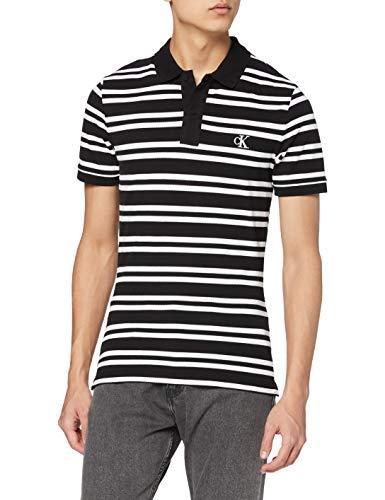 Calvin Klein Stripe Polo Camisa, Black, XL para Hombre