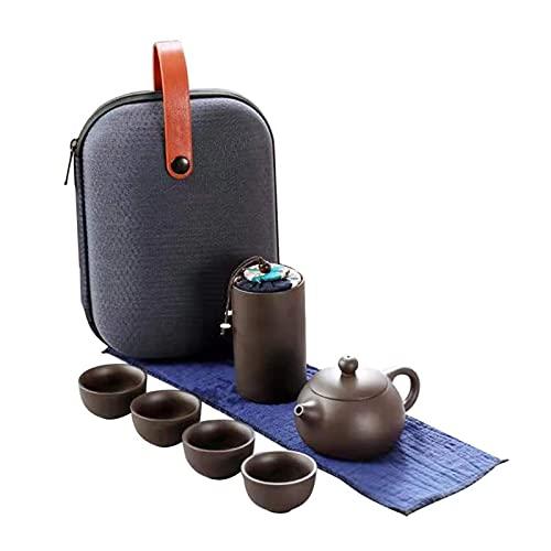 4 tazas Juego de té de color púrpura Cerámica Tetera portátil de cerámica Viaje al aire libre Gaiwán Tazas de té de té de té TeaCup Kung Fu Tea Fine Regalo ( Color : 01 , Kit Type : Four piece Set )