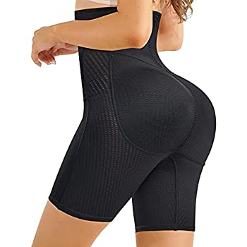 Irisnaya Shapewear Padded Butt Lifter Panties High Waist Trainer for Women Tummy Control Body Shaper Hip Enhancer Thigh Slim Black Medium