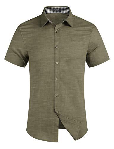 COOFANDY Men's Regular-Fit Short-Sleeve Solid Linen Cotton Shirt Casual Button Down Beach Shirt Army Green