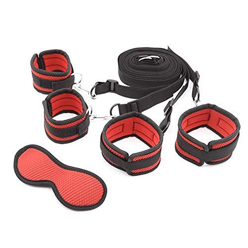 Rojo Nuevas pulseras de tobillo de nylon de rejilla suave de alta calidad Esposas y antifaz Parejas Juego de roles Juego de accesorios deportivos