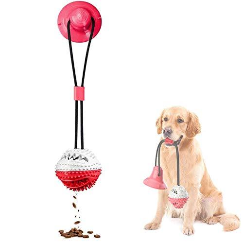 Vandove Hundespielzeug mit Saugnapf Hund Ball Kauspielzeug Spielzeug Molar Kauspielzeug Pet Molar Chew Spielzeug Reinigung Zähne Kugel, für Kleine mittlere große Hunde (# 2 rot)