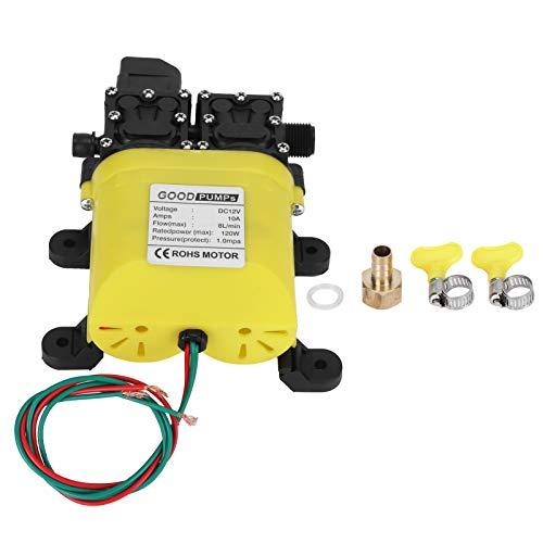 Bomba de agua automática de diafragma de alta presión de 12V con conector de cobre Bomba de inyección de agua automática de 120W 8L DC 12V 8L / min para la industria general, vehículos, agricultura, b