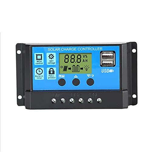 LeftSuper Solarladegerät Controller 60A 50A 40A 30A 20A 10A 12V 24V Batterieladegerät LCD Dual USB Solarpanel Regler Für Max 50V