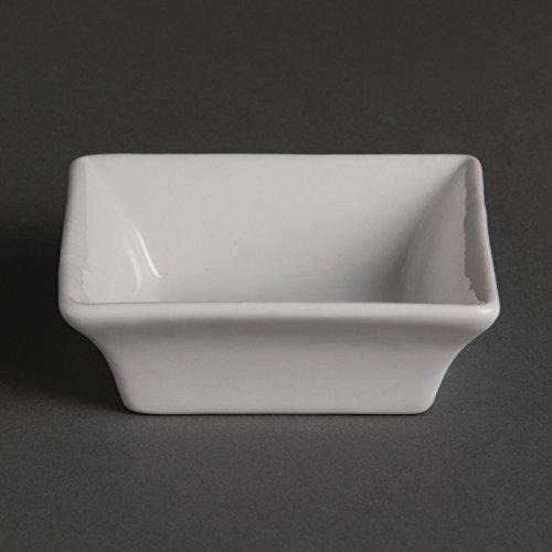 Olympia Lot de 12 bols carrés miniatures en porcelaine Blanc 75 mm