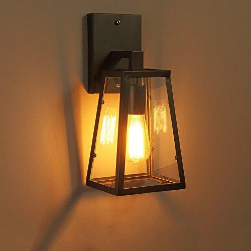 KMYX Vintage Lampe Murale En Verre Style Industriel Noir Fer Forgé Lanterne Mur Loft Rétro Mur Luminaire Pour Étude de Chambre Salon Bar Restaurant Appliques Murales (à l'exclusion des Lumières)