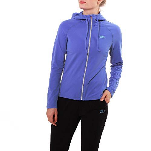 Sportkind - Chaqueta deportiva con capucha, diseño de flores azules, talla 110