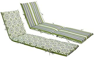 Bossima Indoor/Outdoor Green/Grey Damask/Striped Chaise Lounge Cushion,Spring/Summer Seasonal Replacement Cushions Reversible