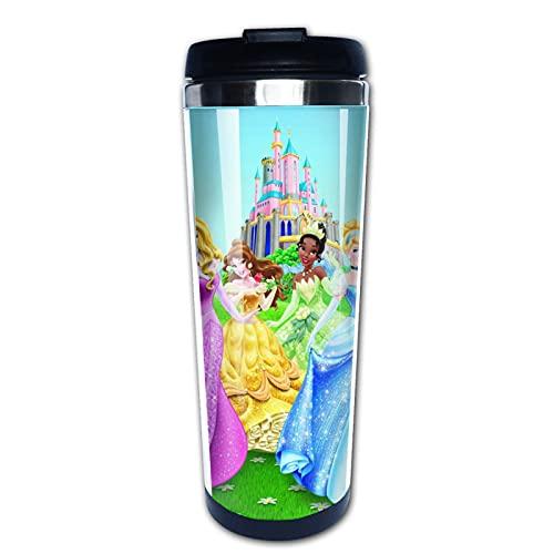 Taza de café de acero inoxidable con diseño de princesas de Disney