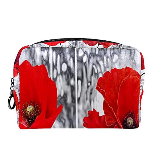 Kosmetiktasche Make-up-Tasche mit Reißverschluss, Ölgemälde Vintage roter Mohn