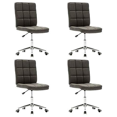 Tidyard 360 Grad Drehstuhl Stühle Esszimmerstühle Designstuhl 4 STK.Stuhl Mit 5 Nylonrollen,Bürostuhl Schreibtischstuhl 48 x 55 x (88-98) cm Mit Gasdruckfedermechanismus,Hohenverstellbar